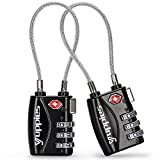 Black 2 Pack Luggage Locks TSA Approved, Suitcase Lock for Backpack