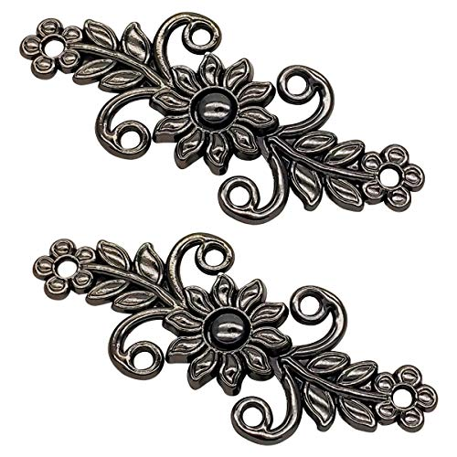 Symmetrical Sun Flower Cloak Clasp,Sew On Hooks and Eyes Cardigan Clip(Black) ()