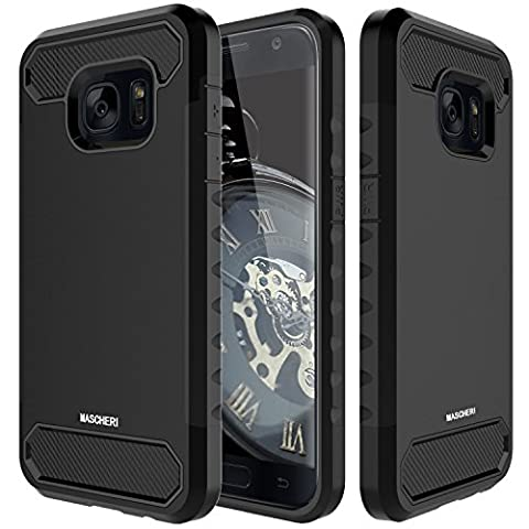 Galaxy S7 Case, Mascheri [Carbon Fiber Design] Shock Absorption Protective Dual Layer Military-Grade Defender Hybrid Case Cover for Samsung Galaxy S7 - (Military Cell Phone Covers)
