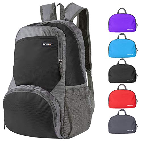 Travel Lightweight Hiking Backpack Foldable Camping Outdoor Day Pack Packable Backpacks Small Daypack for Men and Women – Grey Black