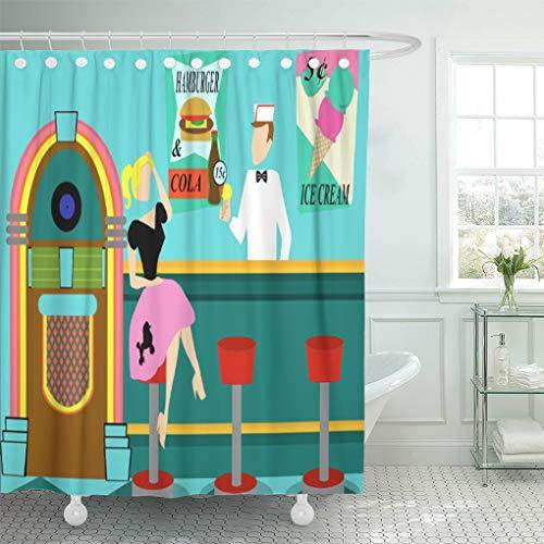 Semtomn Shower Curtain Pink 1950S Retro Soda Fountain Sock Hop Vintage Ice 66