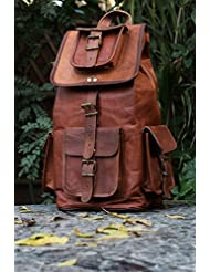 HLC Real Leather Vintage Backpack Bag Rucksack Bag