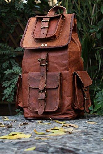 HLC Real Leather Vintage Backpack Bag Rucksack Bag