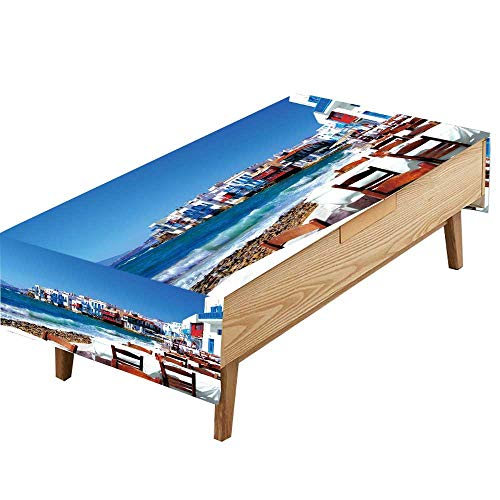 (PINAFORE Polyester Tablecloth Table Cover Colorful Little Venice Neighborhood Mykonos Island Greece Farmhouse Décor, Christmas Everyday Use W70 x L90 INCH)