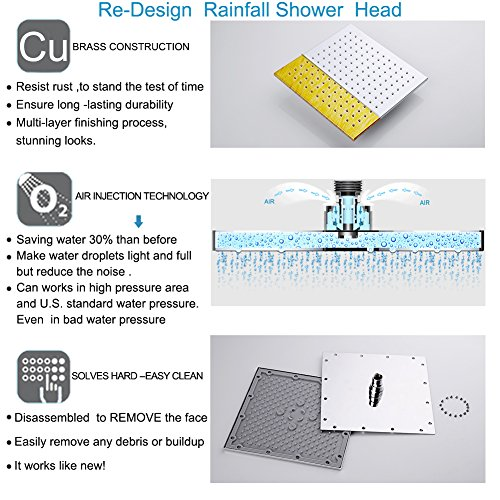 EMBATHER Brass Rainfall Shower Systems Wall Mouthed with rain shower head 10 inch - Adjustable Shower Holder for luxury bathroom Shower Set, Polished Chrome by EMBATHER (Image #1)