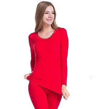 LVLIDAN Mujer Ropa interior térmica Manga larga larga invierno Delgado perfecta Slim Fit tamaño libre rojo