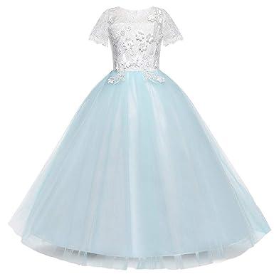 Amazon.com: 4-8T Little/Big Girls Embroidered Wedding Bridesmaid Dress Floor Length Trailing Dress: Clothing