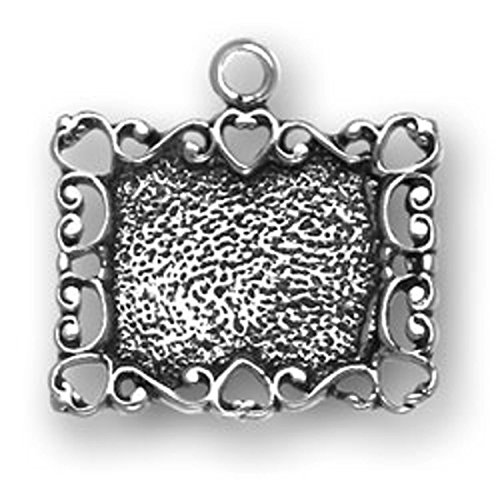 Sterling Silver Ornate Scroll Heart Picture Frame Dangle Charm Bead For Bead Charm Bracelet