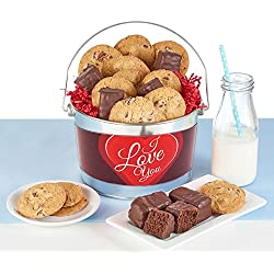 I Love You Gift Bucket filled with Thin & Crispy Chocolate Chip Cookies and Chocolate Covered Brownie Bites Makes the perfect Valentine's Day gift