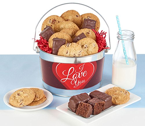 I Love You Gift Bucket filled with Thin & Crispy Chocolate Chip Cookies and Chocolate Covered Brownie - Free Usa Delivery Gifts Online