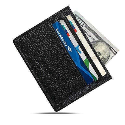 5ddd48ef9d2c URAQT Leather Slim Wallet, Thin Minimalist Front Pocket Wallets for Men  Credit Card Case ( Black )