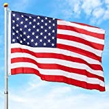 Best Choice Products 16ft Telescopic Aluminum Flagpole w/American Flag and Gold Ball - Multicolor