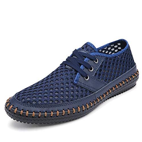 Derby Azul Respirables tamaño Color out Hollow para 45 Cuero de Hombres de Cordones cómodo Gran tamaño EU Genuino con Qiusa Zapatos wTAxq51TP