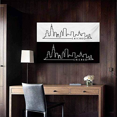 duommhome Chicago Skyline Simulation Oil Painting Minimalist Style Urban Plan View City Chart Sketch American Abstract Decorative Painted Sofa Background Wall 28