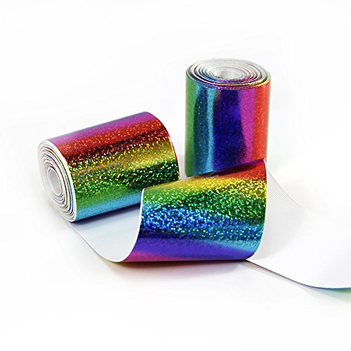 3 Wide 5 Yard DIY Dot Sequins Holographic Rainbow Color Foil Laser Grosgrain Ribbon for Handmade Hair Bow Clip Accessories and Festival Wedding Party Birthday Bridal Shower Decoration (Rainbow Color)