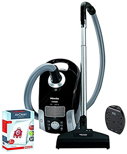 Miele Compact C1 Turbo Team PowerLine Canister Vacuum Obsidian Black - ReVIVE Rapid Dual USB 6 Outlet Wall AC Adapter, & 10123220 AirClean 3D Efficiency Dust Bag, Type FJM, 4 Bags & 2 Filters (Bundle) (Stb Systems)