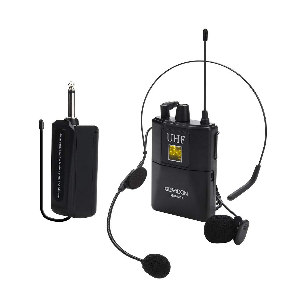 Geardon Rechargeable UHF Wireless Microphone System 48 Channels with Headset & Lavalier Lapel Mics, Wireless Microphone Set with Beltpack Transmitter&Receiver for Teaching/Public Speaking/Church