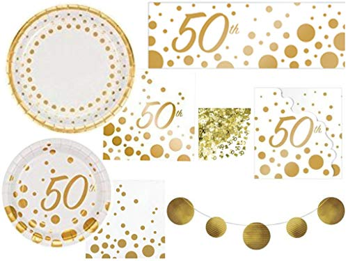 Sparkle & Shine Gold 50th Anniversary Deluxe Tableware and Decorations Party Supplies Kit Including Plates, Napkins, Banners, Balloons, Confetti and Invitations for 24 Guests (149 Pieces)