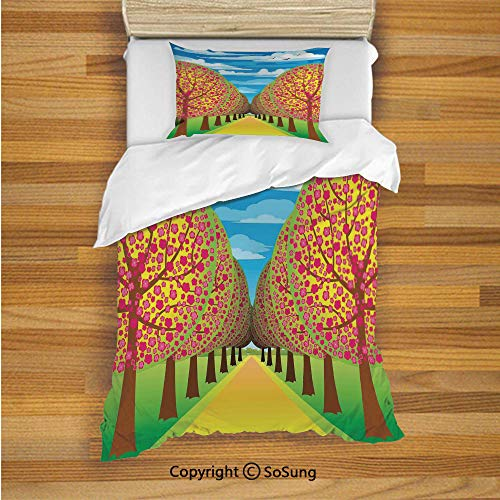 Tree of Life Kids Duvet Cover Set Twin Size, Illustration of Flowering Cherry Trees with Clear Sky and Flying Birds Pastel Eco Home Decorative 2 Piece Bedding Set with 1 Pillow Sham,Multi
