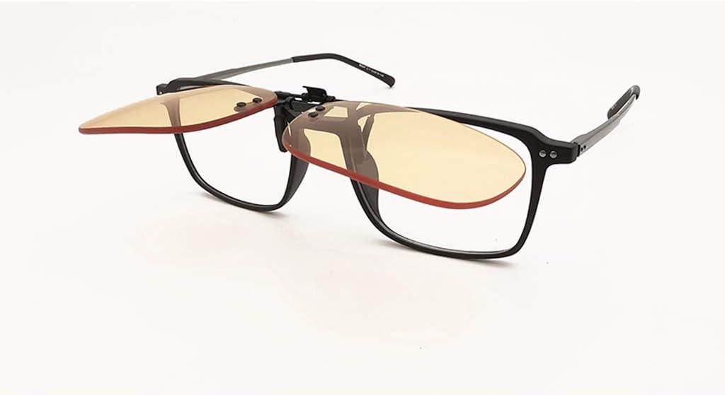 Las lentes de clip de bloqueo azul claro 56% de bloqueo de UV 99,99% de la miopía de los vidrios Asistente de ojos ámbar protector hombres de las mujeres (Color : Square)