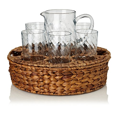 Artland Hand Blown Galvanized Garden Terrace Collection 8-Piece Pitcher Set Included: 6 Glasses, 1 Tray, 1 Pitcher (Montessori Glass Pitcher compare prices)