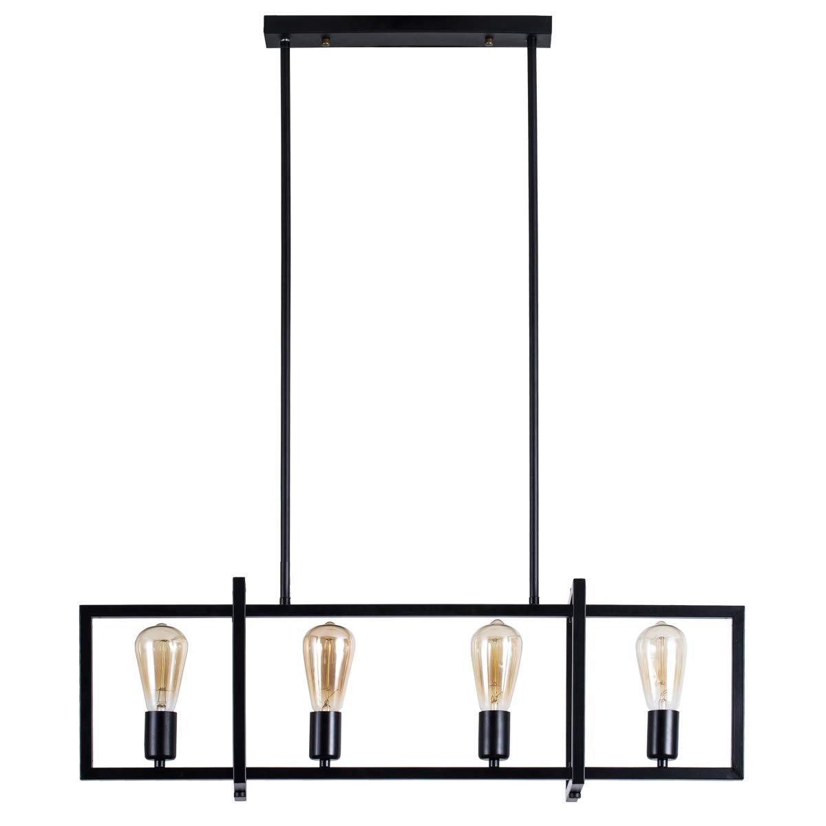 4-Light Kitchen Island Pendant with Matte Black Plated Finish, Geometric Modern Industrial Chandelier Lighting Fixture for Kitchen Island, Restaurants, Dining Room, Hotels, Foyer, Shops