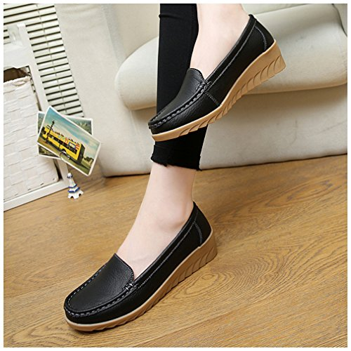 NEWZCERS Women's Loafer Flats Black ZaStCAYZ