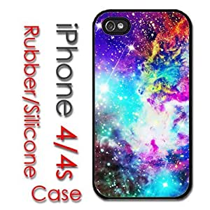 iPhone 4 4S Rubber Silicone Case - Galaxy Nebula Colorful Fox Galaxy Stars