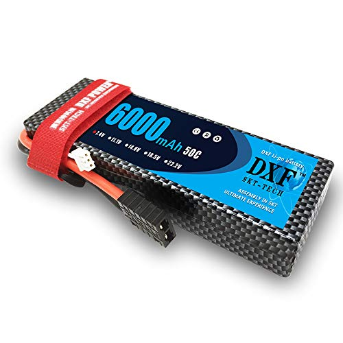DXF 6000mAh 50C 7.4V 2S Lipo Battery Pack with Traxxas/TRX Plug for 1/8 1/10 RC Vehicles Car,Trucks,Boats