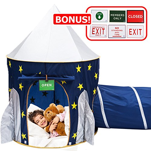 Play Kreative Space Rocketship PlayTent with Crawling Tunnel – Kids Blue pop up Tent Playouse with Yellow Stars. For Indoor/Outdoor Camping children activity center - Carry Case Included.