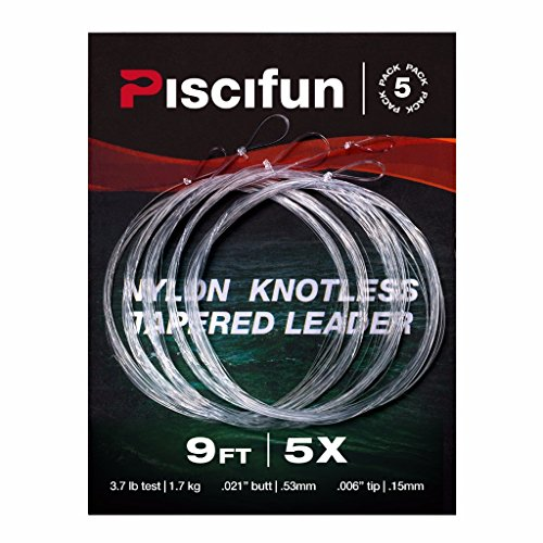 (Piscifun Fly Fishing Tapered Leader with Loop-9ft 5 Pack 5x)