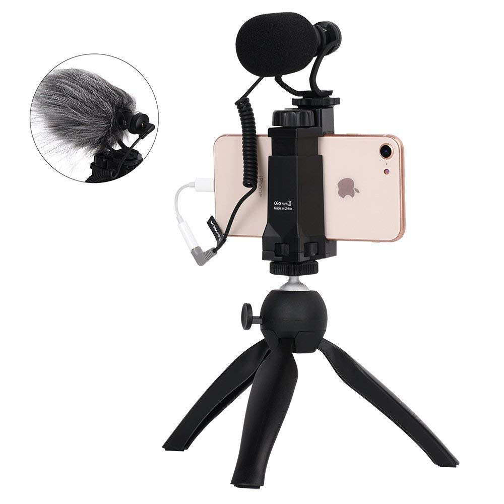 Comica Smartphone Video Kit CVM-VM10-K2 Filmmaker Mini Tripod with Shotgun Video Microphone Video Rig for iPhone X 8Plus 8 7Plus 7 Samsung Huawei etc. by comica