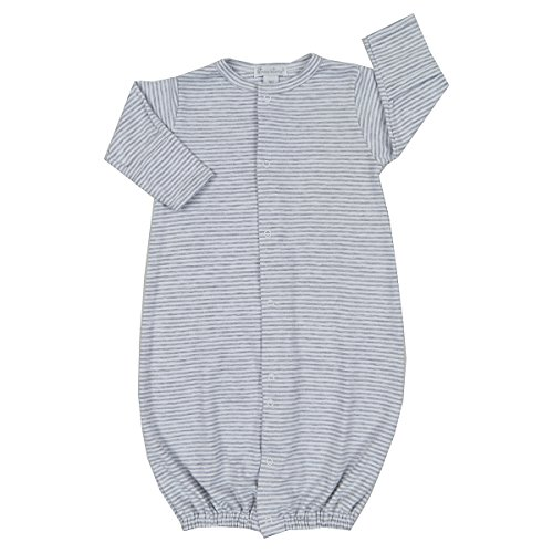 Newborn Baby Boys Convertible Gown - Kissy Kissy Baby Essentials Striped Convertible Gown-Gray-Newborn