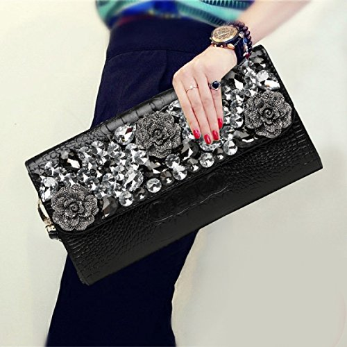 Luxury Ladies Black Clutch Large Bag Evening Handbags Shiny Messenger Bag Shoulder Rhinestone Fashion Capacity qwqS61I