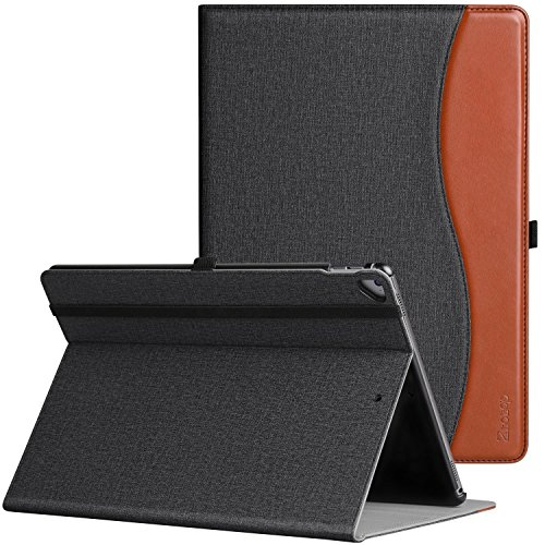 Ztotop Case for iPad Pro 12.9 Inch 2017/2015 (Old Model,1st & 2nd Gen), Premium Leather Folding Stand Folio Cover with Auto Wake/Sleep, Document Card Slots and Multiple Viewing Angles, DenimBlack