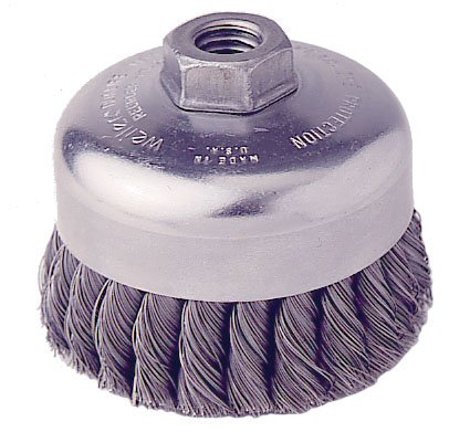 Weiler 12406-4'' Cup Brush with 1 Row of 1-1/4'' Long x 0.014'' Dia. Knotted - Partial Twist Stainless Steel Bristles by Weiler