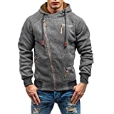 HTHJSCO Men's Fitness Workout Long Sleeve Hoodie Active Muscle Bodybuilding Zip Jackets with Zipperd Pockets (Dark Gray, XL)