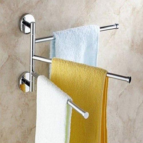 Hiquty 3-Arm Aluminium Towel Rack Wall Mounted Bathroom Swivel Bars Hanger - Bar Stool Americana