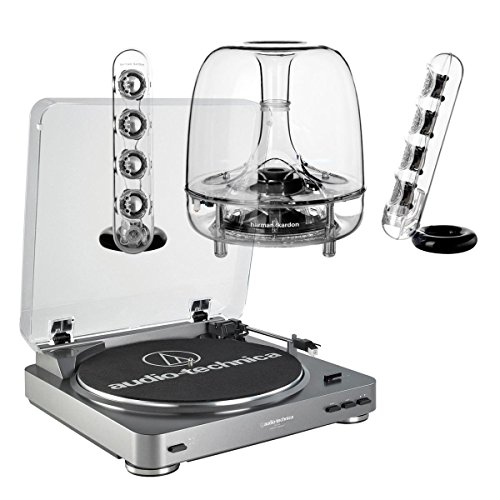 AudioTechnica AT-LP60 Fully Automatic Stereo 2-Speed Turntable System (Silver) with Harman Consumer SoundSticks III 2.1 Plug and Play Multimedia Speaker System by Audio-Technica