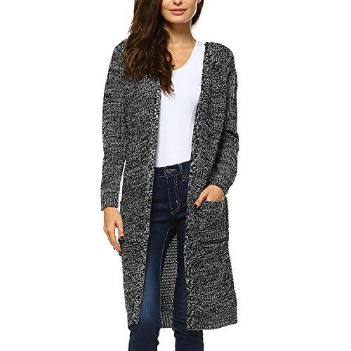 Long Black Cardigan Sweater - 2
