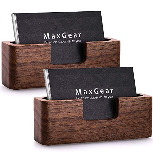 (MaxGear Business Card Holder Wood Business Cards Holder for Desk Business Card Display Holder Desktop Business Card Stand for Office,Tabletop - Rectangle 2 Pack)