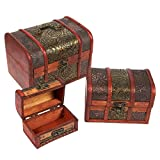 3 Piece Wooden Treasure Box - Keepsake Box - Treasure Chest Flower Motif Jewelry