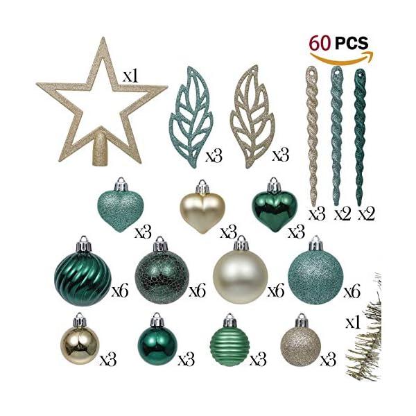 Valery Madelyn Palle di Natale 60 Pezzi di Palline di Natale, 3-5 cm di Carnevale della Foresta Pluviale Verde e Oro Infrangibile Ornamenti di Palla di Natale Decorazione per la Decorazione 2 spesavip
