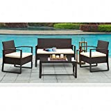 mecor 4 Piece Wicker Patio Furniture Set Sectional Sofa & Table with Cushions Lawn Garden Outdoor (Brown) Review