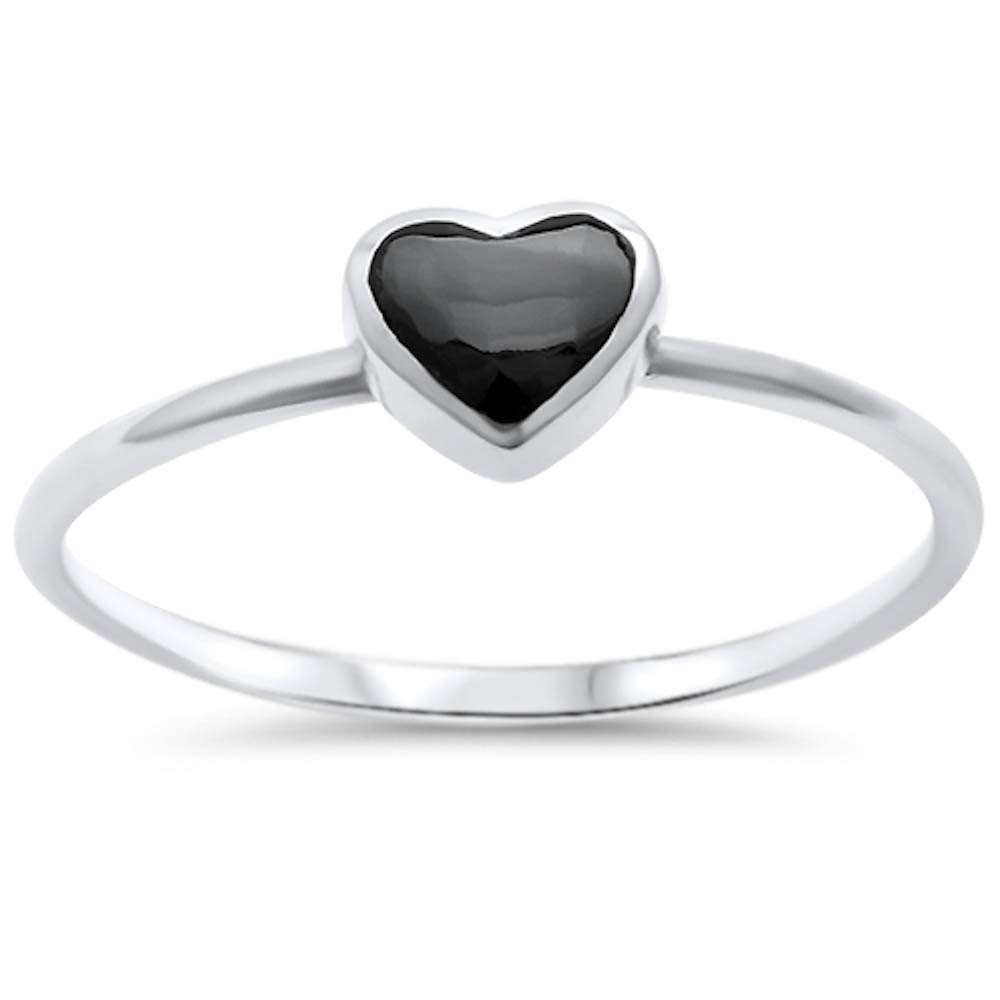 Oxford Diamond Co Sterling Silver Natural Stone Heart Ring Sizes...