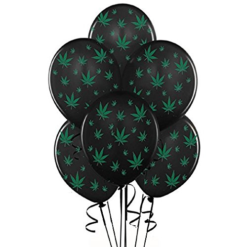 Marijuana Balloons Party-TEX 11in Premium Black with All-Over Print Green Marijuana Leaves Pkg/25