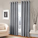 F2L Eyelet Jute Polyester Window Curtain (5 ft, Grey) -2 Piece