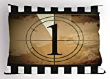Ambesonne Movie Theater Pillow Sham, Grunge Countdown Frame with the Number 1 in a Circle Film Strip, Decorative Standard Size Printed Pillowcase, 26 X 20 Inches, Pale Brown Black White