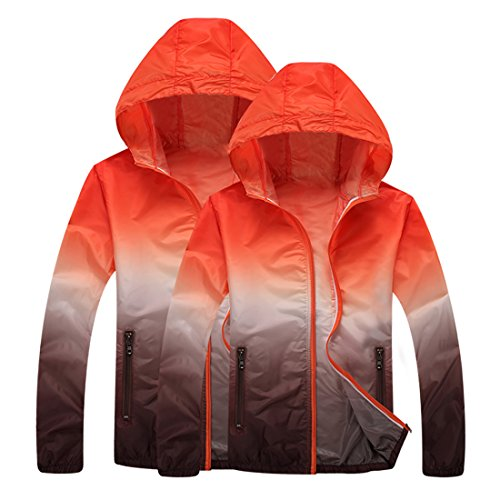 Panegy Unisex Sunscreen Hoodie Jacket Lightweight Drys Quickly Zipper Breathable Thin Sunblock Suit Rain Coat Orange Brown Large by Panegy (Image #2)