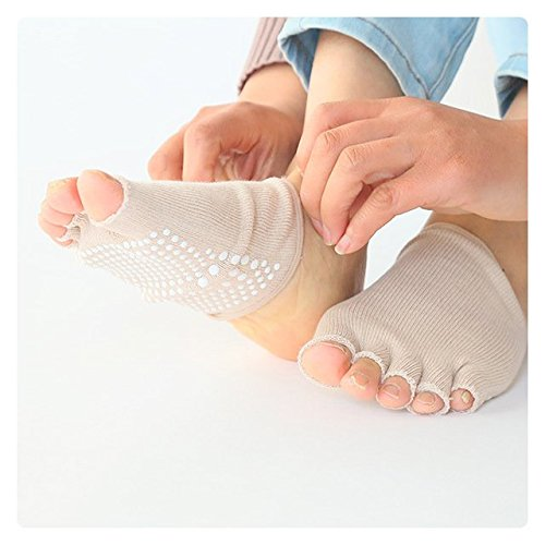 Dr.Koyama Half Toe Yoga Pilates Gym Socks ( 6 Pairs ) Toe Separator Non Slip Skid with Grips for Women US 5~11